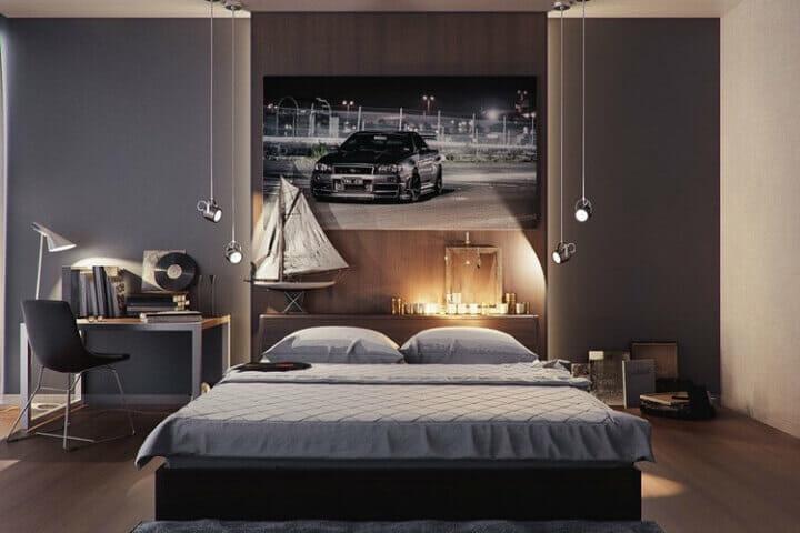 trang trí phòng ngủ đơn giản cho nam