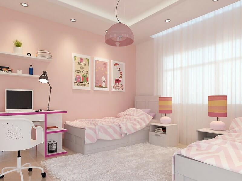 trang trí phòng ngủ màu hồng trắng