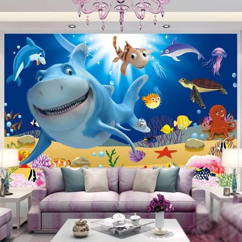 vẽ tranh tường phòng khách đẹp