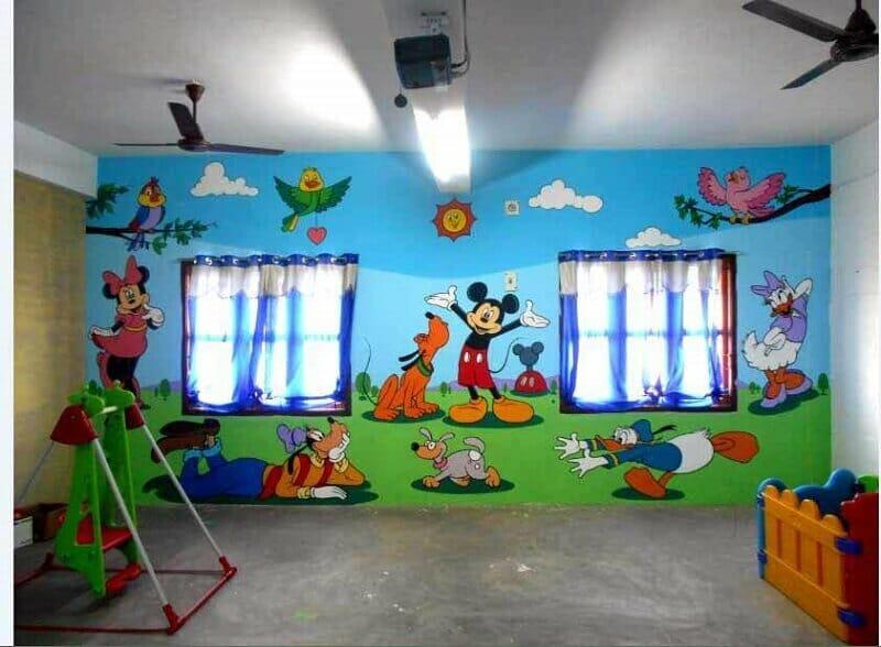 vẽ tranh tường trường mầm non đẹp