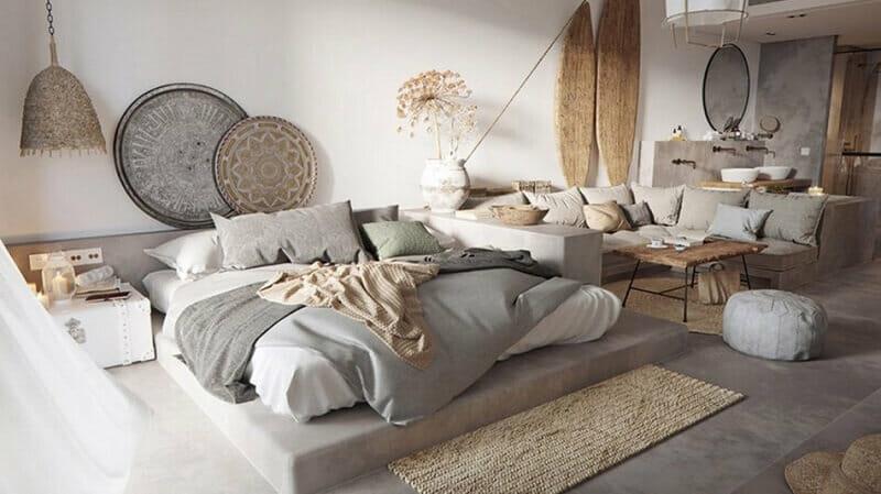 vtrang trí phòng ngủ không giường tinh tế
