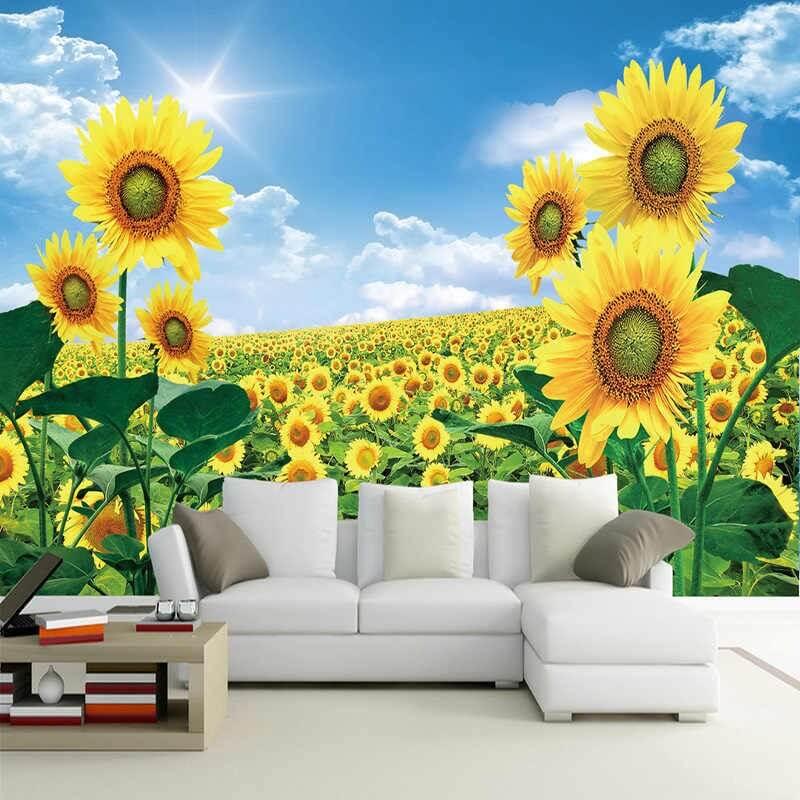 Custom Photo Wallpaper 3D Sunflowers Pastoral Scenery Wall Painting Living Room TV Sofa Backdrop Wall Home.jpg q50 vẽ tranh tường Mỹ Thuật Fly Art
