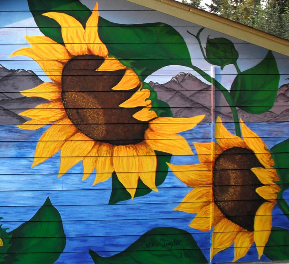 SunflowersMuralDetail2 vẽ tranh tường Mỹ Thuật Fly Art