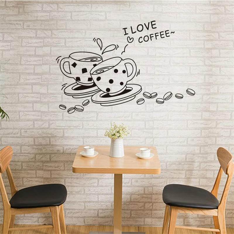 black coffee cup wall sticker for kicthen vẽ tranh tường Mỹ Thuật Fly Art