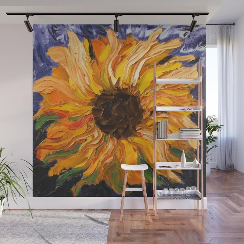 fiery sunflower original painting wall murals vẽ tranh tường Mỹ Thuật Fly Art