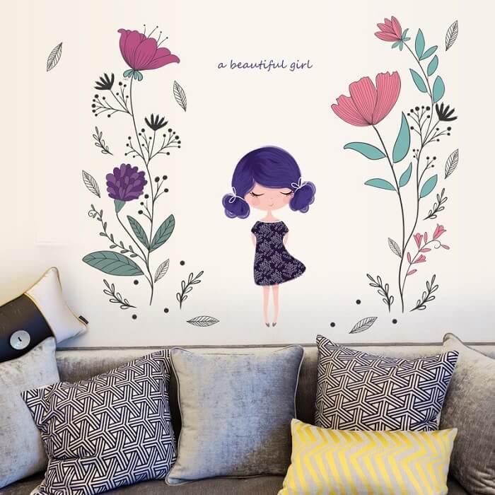 tranh vẽ tường cho bé gái