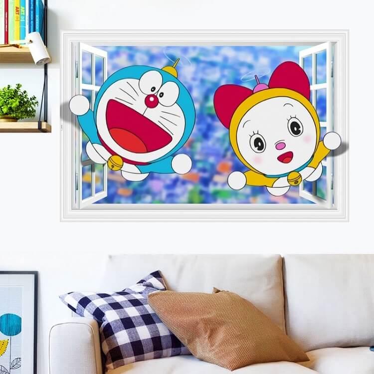 tranh vẽ tường doremon