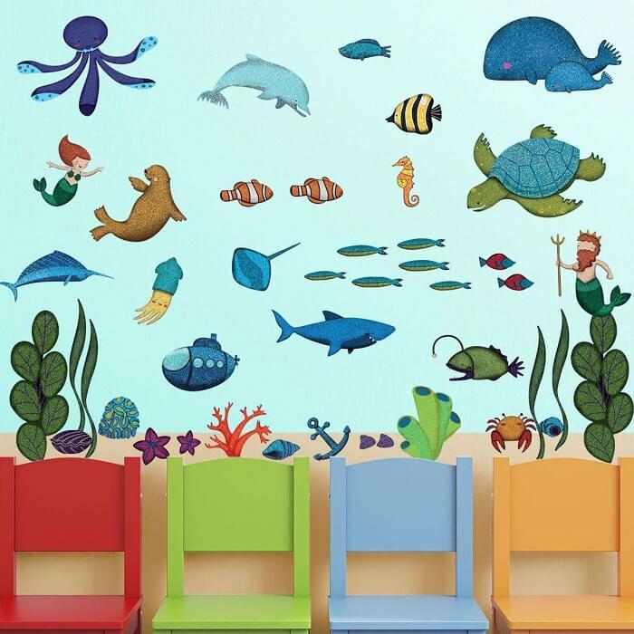 vẽ tranh tường đại dương