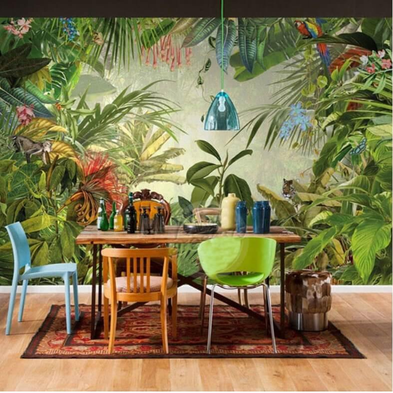 tranh vẽ tường rừng nhiệt đới
