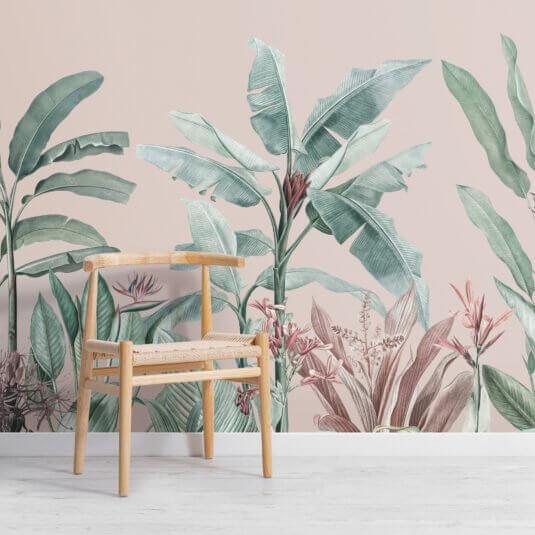 vẽ tranh tường lá chuối
