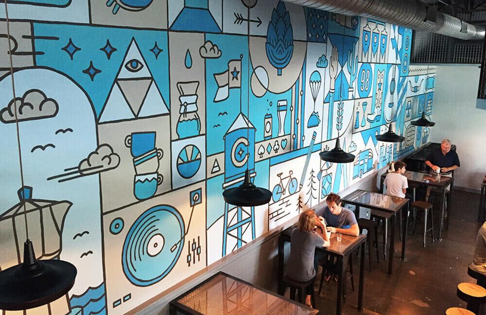50 Mẫu Vẽ Tranh Tường 2D & 3D Quán Cafe Đẹp Mắt Ấn Tượng
