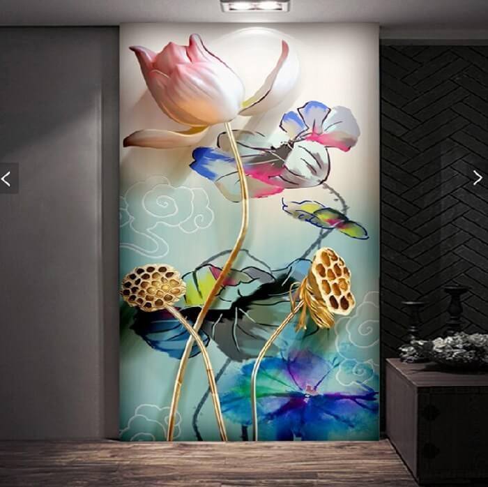 vẽ tranh tường hoa sen