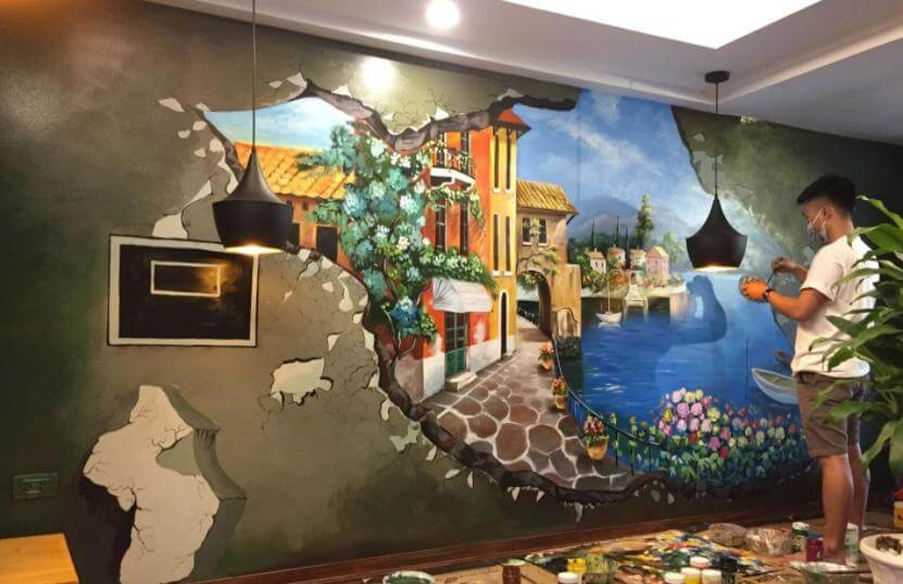 ve tranh tuong quan cafe3 vẽ tranh tường Mỹ Thuật Fly Art