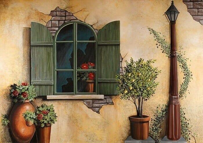 vẽ tranh tường sân vườn